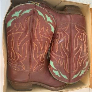 Vintage leather cowboy boots with original box